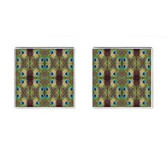 Beautiful Peacock Feathers Seamless Abstract Wallpaper Background Cufflinks (Square)