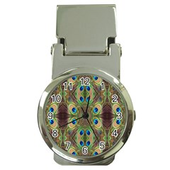 Beautiful Peacock Feathers Seamless Abstract Wallpaper Background Money Clip Watches