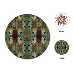 Beautiful Peacock Feathers Seamless Abstract Wallpaper Background Playing Cards (round)