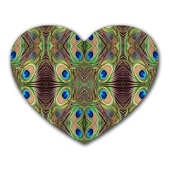 Beautiful Peacock Feathers Seamless Abstract Wallpaper Background Heart Mousepads