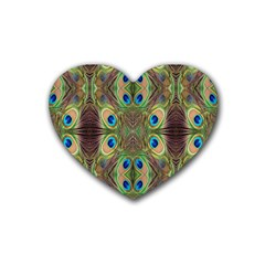 Beautiful Peacock Feathers Seamless Abstract Wallpaper Background Rubber Coaster (Heart)