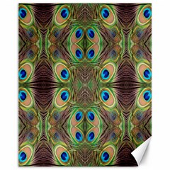 Beautiful Peacock Feathers Seamless Abstract Wallpaper Background Canvas 11  x 14