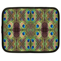 Beautiful Peacock Feathers Seamless Abstract Wallpaper Background Netbook Case (large)