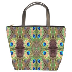 Beautiful Peacock Feathers Seamless Abstract Wallpaper Background Bucket Bags