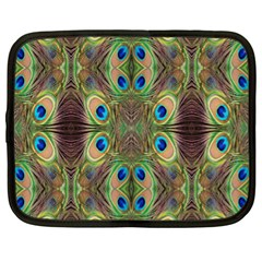 Beautiful Peacock Feathers Seamless Abstract Wallpaper Background Netbook Case (XL)
