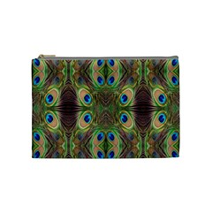 Beautiful Peacock Feathers Seamless Abstract Wallpaper Background Cosmetic Bag (medium)