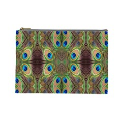 Beautiful Peacock Feathers Seamless Abstract Wallpaper Background Cosmetic Bag (large)