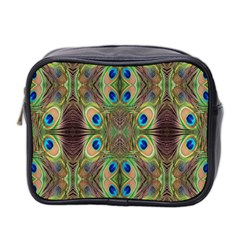 Beautiful Peacock Feathers Seamless Abstract Wallpaper Background Mini Toiletries Bag 2-Side
