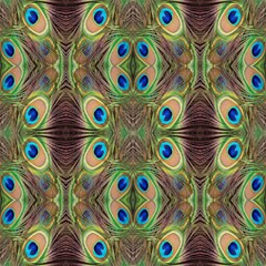 Beautiful Peacock Feathers Seamless Abstract Wallpaper Background Magic Photo Cubes