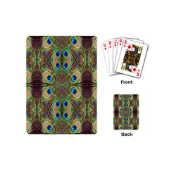 Beautiful Peacock Feathers Seamless Abstract Wallpaper Background Playing Cards (Mini)