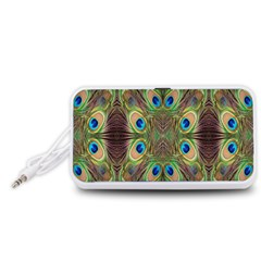 Beautiful Peacock Feathers Seamless Abstract Wallpaper Background Portable Speaker (White)