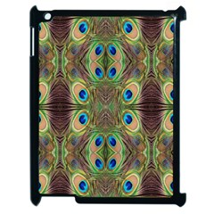 Beautiful Peacock Feathers Seamless Abstract Wallpaper Background Apple iPad 2 Case (Black)