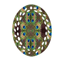 Beautiful Peacock Feathers Seamless Abstract Wallpaper Background Oval Filigree Ornament (Two Sides)