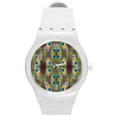Beautiful Peacock Feathers Seamless Abstract Wallpaper Background Round Plastic Sport Watch (M)