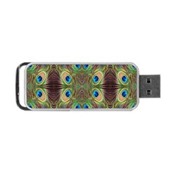 Beautiful Peacock Feathers Seamless Abstract Wallpaper Background Portable Usb Flash (two Sides)