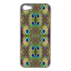 Beautiful Peacock Feathers Seamless Abstract Wallpaper Background Apple iPhone 5 Case (Silver)