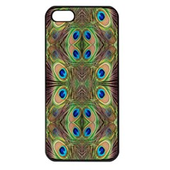 Beautiful Peacock Feathers Seamless Abstract Wallpaper Background Apple iPhone 5 Seamless Case (Black)