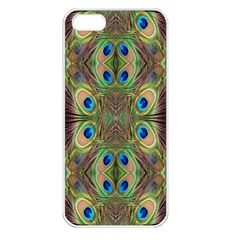 Beautiful Peacock Feathers Seamless Abstract Wallpaper Background Apple iPhone 5 Seamless Case (White)