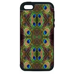 Beautiful Peacock Feathers Seamless Abstract Wallpaper Background Apple iPhone 5 Hardshell Case (PC+Silicone)