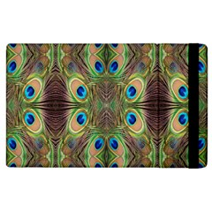 Beautiful Peacock Feathers Seamless Abstract Wallpaper Background Apple Ipad 2 Flip Case