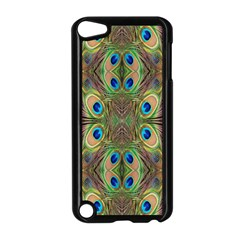 Beautiful Peacock Feathers Seamless Abstract Wallpaper Background Apple iPod Touch 5 Case (Black)