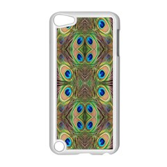 Beautiful Peacock Feathers Seamless Abstract Wallpaper Background Apple iPod Touch 5 Case (White)