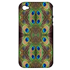Beautiful Peacock Feathers Seamless Abstract Wallpaper Background Apple Iphone 4/4s Hardshell Case (pc+silicone)