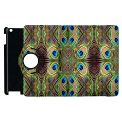Beautiful Peacock Feathers Seamless Abstract Wallpaper Background Apple iPad 2 Flip 360 Case