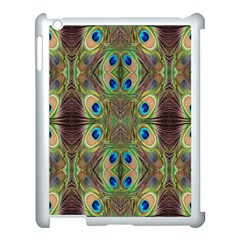 Beautiful Peacock Feathers Seamless Abstract Wallpaper Background Apple iPad 3/4 Case (White)