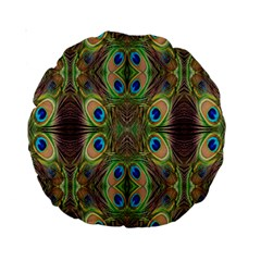 Beautiful Peacock Feathers Seamless Abstract Wallpaper Background Standard 15  Premium Round Cushions