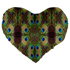Beautiful Peacock Feathers Seamless Abstract Wallpaper Background Large 19  Premium Heart Shape Cushions