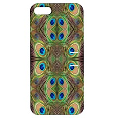 Beautiful Peacock Feathers Seamless Abstract Wallpaper Background Apple iPhone 5 Hardshell Case with Stand
