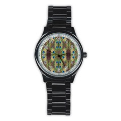 Beautiful Peacock Feathers Seamless Abstract Wallpaper Background Stainless Steel Round Watch