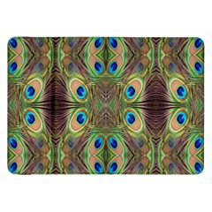 Beautiful Peacock Feathers Seamless Abstract Wallpaper Background Samsung Galaxy Tab 8.9  P7300 Flip Case