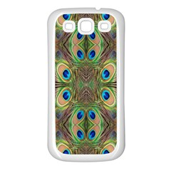 Beautiful Peacock Feathers Seamless Abstract Wallpaper Background Samsung Galaxy S3 Back Case (White)