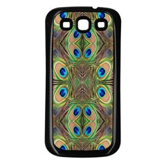 Beautiful Peacock Feathers Seamless Abstract Wallpaper Background Samsung Galaxy S3 Back Case (Black)