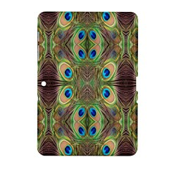 Beautiful Peacock Feathers Seamless Abstract Wallpaper Background Samsung Galaxy Tab 2 (10.1 ) P5100 Hardshell Case
