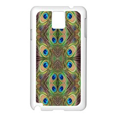 Beautiful Peacock Feathers Seamless Abstract Wallpaper Background Samsung Galaxy Note 3 N9005 Case (White)