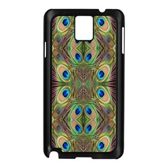 Beautiful Peacock Feathers Seamless Abstract Wallpaper Background Samsung Galaxy Note 3 N9005 Case (Black)