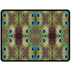 Beautiful Peacock Feathers Seamless Abstract Wallpaper Background Double Sided Fleece Blanket (Large)