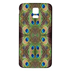 Beautiful Peacock Feathers Seamless Abstract Wallpaper Background Samsung Galaxy S5 Back Case (White)