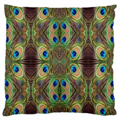 Beautiful Peacock Feathers Seamless Abstract Wallpaper Background Large Flano Cushion Case (Two Sides)