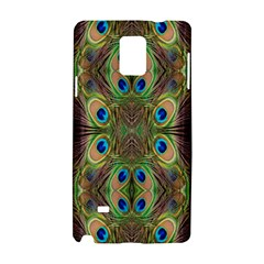 Beautiful Peacock Feathers Seamless Abstract Wallpaper Background Samsung Galaxy Note 4 Hardshell Case