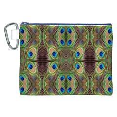 Beautiful Peacock Feathers Seamless Abstract Wallpaper Background Canvas Cosmetic Bag (XXL)