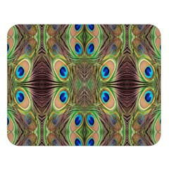 Beautiful Peacock Feathers Seamless Abstract Wallpaper Background Double Sided Flano Blanket (Large)