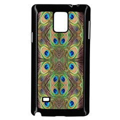 Beautiful Peacock Feathers Seamless Abstract Wallpaper Background Samsung Galaxy Note 4 Case (Black)