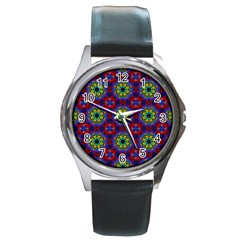 Abstract Pattern Wallpaper Round Metal Watch