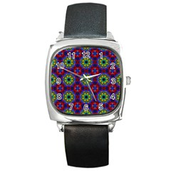 Abstract Pattern Wallpaper Square Metal Watch