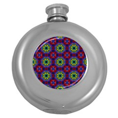 Abstract Pattern Wallpaper Round Hip Flask (5 Oz)