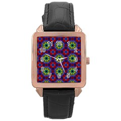 Abstract Pattern Wallpaper Rose Gold Leather Watch